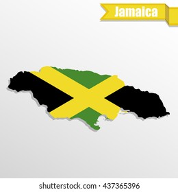Jamaica map with flag inside and ribbon