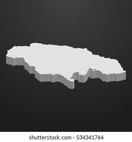 Jamaica map in gray on a black background 3d