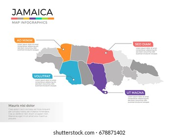 Jamaica map infographics vector template with regions and pointer marks