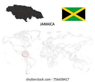 jamaica map on a world map with flag on white background