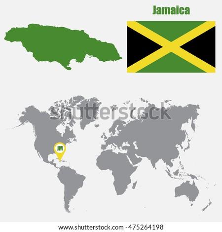 Jamaica Map On World Map Flag Vector de stock (libre de regalías ...