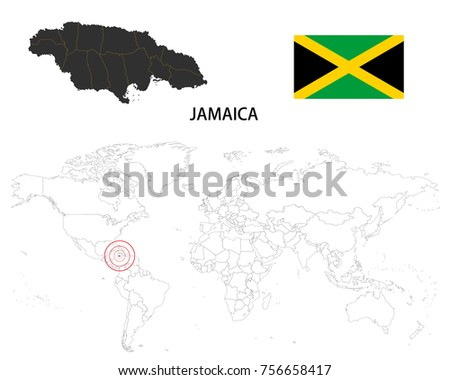 Jamaica Map On World Map Flag Stock Vector (Royalty Free) 756658417 ...