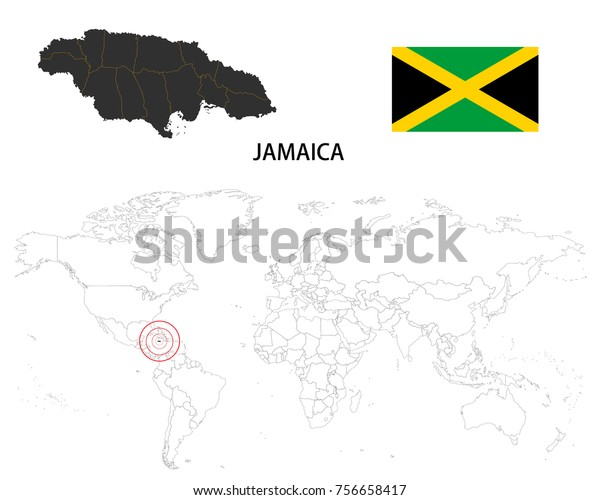 Jamaica Map On World Map Flag Stock Vector (Royalty Free ...