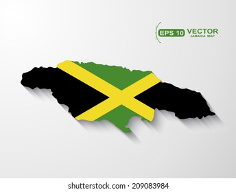 Jamaica map with shadow effect