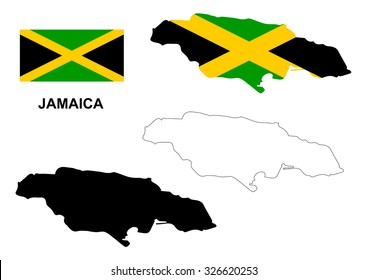 Jamaica map vector, Jamaica flag vector, isolated Jamaica