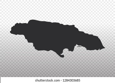 Jamaica Map - World Map International vector template isolated on transparent background - Vector illustration eps 10