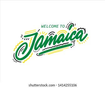 Jamaica. Name country word text card, banner script. Beautiful typography. Handwritten design modern brush lettering isolated vector.