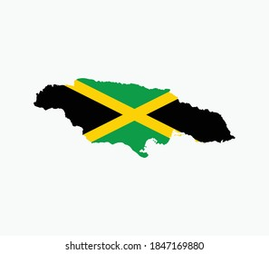 Jamaica National Map with flag illustration