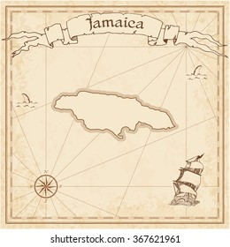Jamaica old treasure map. Sepia engraved template of Jamaica treasure map. Stylized Jamaica treasure map on vintage torn paper.