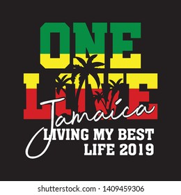 Jamaica One Love calligraphy design for t shirt - Vector