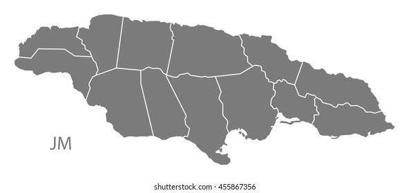 Jamaica with parishes map grey
