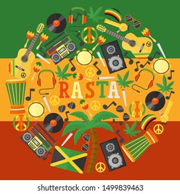 Jamaica rastafarian icons in round frame composition, vector illustration. Flat style symbols of Jamaican culture and reggae music. Isolated items of rastafarian lifestyle, colorful background