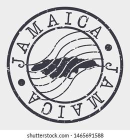 Jamaica Stamp Postal. Map Silhouette Seal. Passport Round Design. Vector Icon. Design Retro Travel.