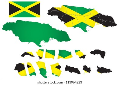 Jamaica vector map with flag