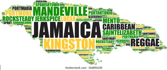 Jamaica vector map silhouette on a tag cloud in black, yellow and green