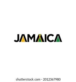 Jamaica Word mark with Flag Symbol. Logo Design. Vector Illustration.