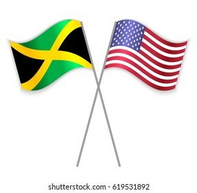 Jamaican and American crossed flags. Jamaica combined with United States of America isolated on white. Language learning, international business or travel concept.