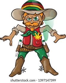 jamaican cowboy character cartoon with marijuana cigarette