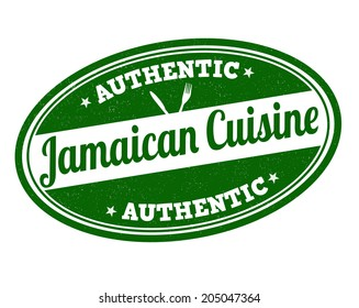 Jamaican cuisine grunge rubber stamp on white, vector illustration