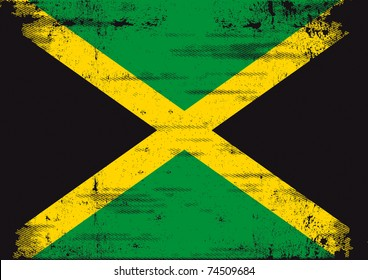 Jamaican grunge flag . An old  jamaican flag whit a texture