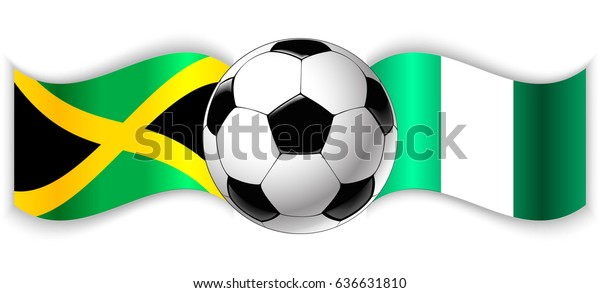 Jamaican Nigerian Wavy Flags Football Ball Stock Vector