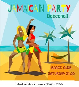 Jamaican party flyer with the girls on the beach