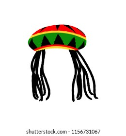 Jamaican rasta hat with dreadlocks. Reggae style avatar. Isolated on white background. Vector EPS 10.