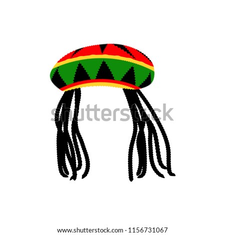 Jamaican rasta hat with dreadlocks. Reggae style avatar. Isolated on white  background. Vector 07230c17c22