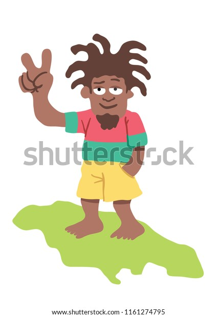 Jamaican Rastafarian Man standing on island. Background on separate layer