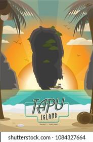 James Bond Island, Koh Tapu, Thailand. Vector Illustration for Poster or Postcard. EPS 10.