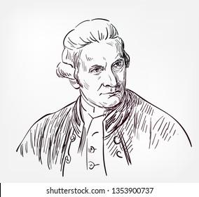 James Cook vector sketch portrait