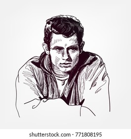 James Dean american actor vector illustration sketch style