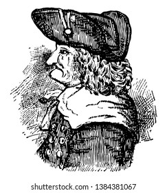 James E. Oglethorpe, 1696-1785, he was a British soldier, Member of Parliament, philanthropist, and governor of Georgia, vintage line drawing or engraving illustration