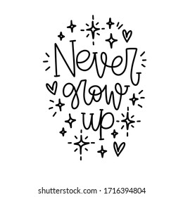 James Matthew Barrie quote vector design with Never grow up Peter Pan words, heart and twinkle star doodle clipart.