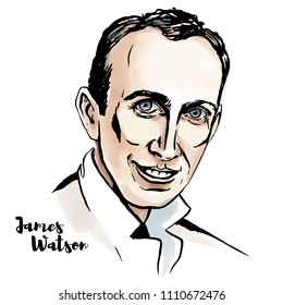 James Watson watercolor vector portrait with ink contours. American molecular biologist, geneticist and zoologist.