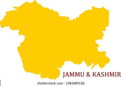 Jammu and Kashmi, India, vector map. High detailed  illustration. - Vector