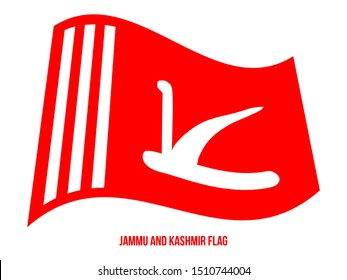 Jammu and Kashmir Flag Waving Vector Illustration on White Background. Official State Flag Of India.