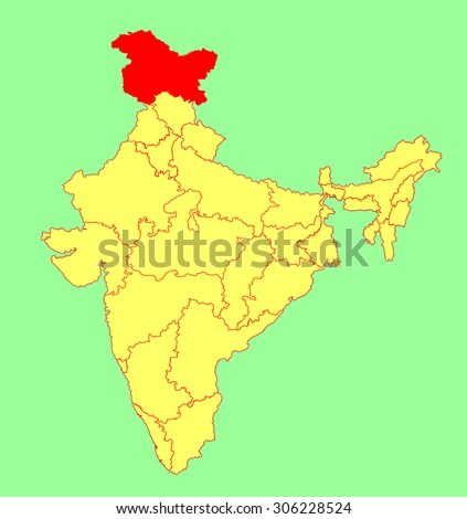 Jammu Kashmir State India Vector Map Stock Vector (Royalty Free ...