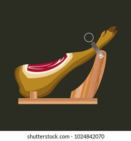 Jamon on the wooden jamonera. Vector illustration on the white background