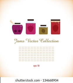 Jams vector collection. Strawberry jam. Red raspberry jam. Cherry jam. Set of different confitures. Isolated pots of jam. Jam jar