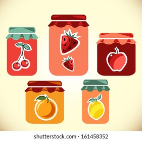 Jams vector collection. Strawberry jam.  Cherry jam. Set of different confitures. Isolated pots of jam. Jam jar
