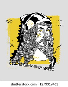 Jan. 03, 2019: Albrecht Durer. Vector illustration hand drawn. Creative geometric portrait.