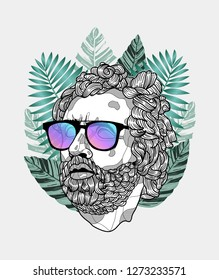 Jan. 03, 2019: Odysseus. Vector illustration hand drawn. Hipster portrait with glasses and tropical leaves. Summer style.