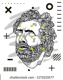 Jan. 03, 2019: Odysseus. Vector illustration hand drawn. Modern geometric portraits with dots.