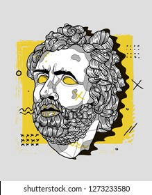 Jan. 03, 2019: Odysseus. Vector illustration hand drawn. Creative geometric portrait.