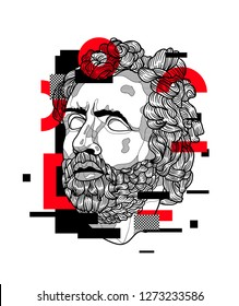 Jan. 03, 2019: Odysseus. Vector illustration hand drawn. Glitch.