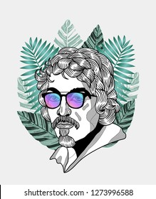 Jan. 04, 2019: Michelangelo Caravaggio. Vector illustration hand drawn. Hipster portrait with glasses and tropical leaves. Summer style.