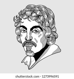 Jan. 04, 2019: Michelangelo Caravaggio. Vector illustration hand drawn.