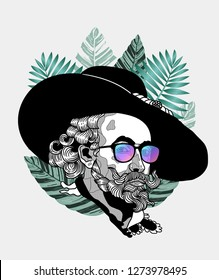 Jan. 04, 2019: Peter Rubens. Vector illustration hand drawn. Hipster portrait with glasses and tropical leaves. Summer style.