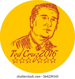 Jan. 19, 2016: Drawing sketch style illustration showing head of Rafael Edward Ted Cruz, an American senator, politician and Republican 2016 presidential candidate.